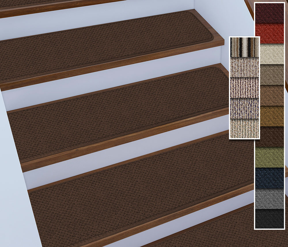 Set of 12 Tape-Down Carpet Stair Treads | 4 Sizes/18 Colors | Rug Street